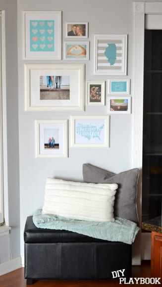 Tones of blue and white in this gallery wall look great with the gray accents.