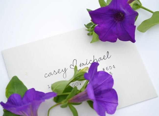 Casey's wedding invitations turned out even better than she had imagined