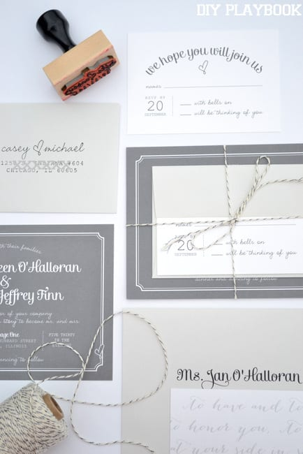 Mike and Casey's wedding invites and envelopes