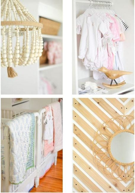 These cute decor elements like a beaded chandelier and flower mirror are great for a baby nursery.