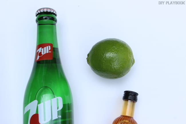 Seven-Up, a lime, and some so-co makes for an easy mini cocktail kit