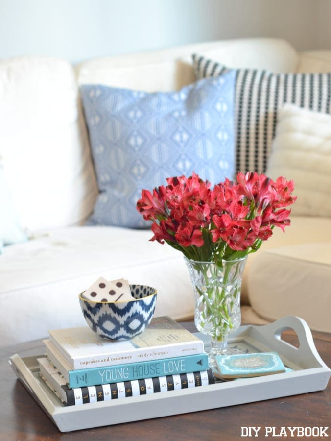 Place the DIY domino tiles into a decorative bowl on a coffee table.