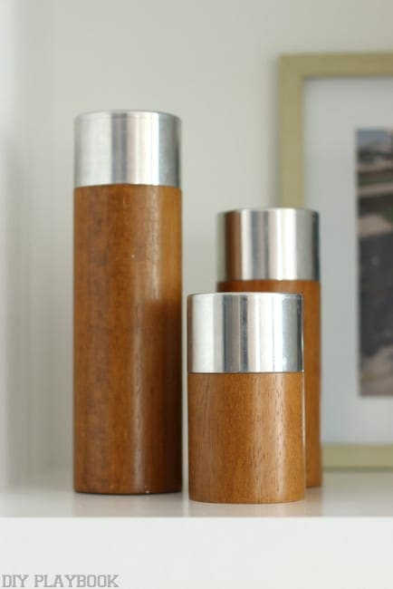 Decorative brown and silver candles.
