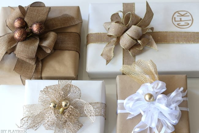 Adding some extra decorative elements to your gorgeous bow makes the gifts all the more exciting.