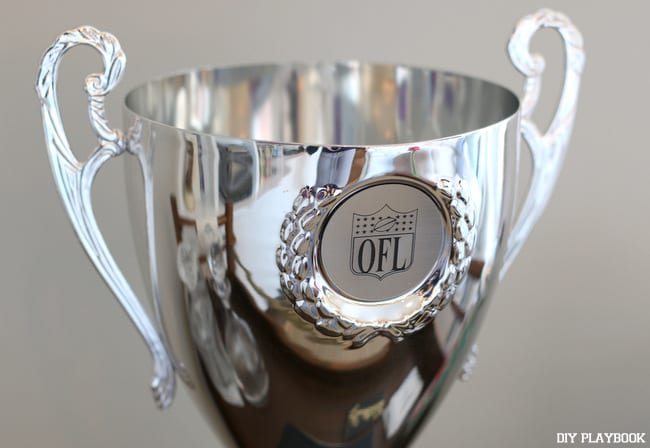 this fancy trophy needs a new place in our home but we don't know where