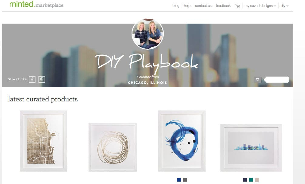 The DIY Playbook Minted store featured simple and chick pieces of art.