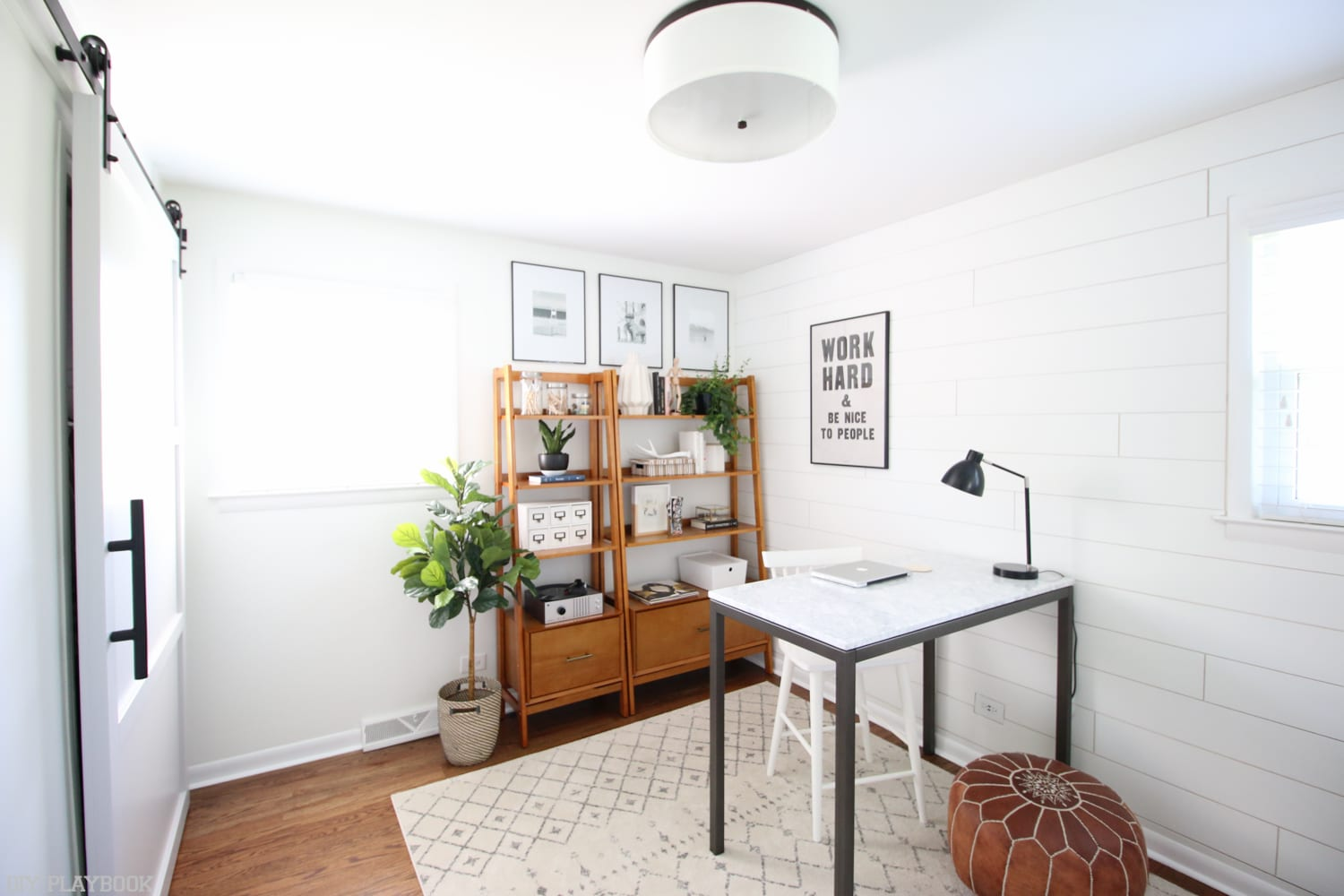 A wide shot of the office