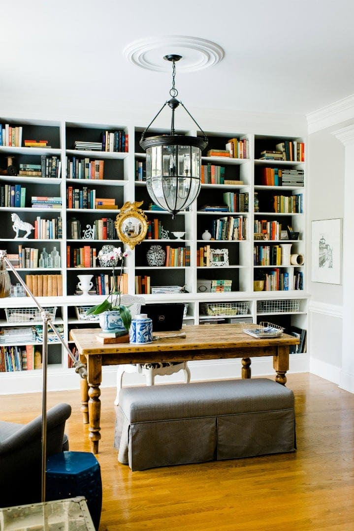 Emily Clark's office with built-in bookcases on the wall