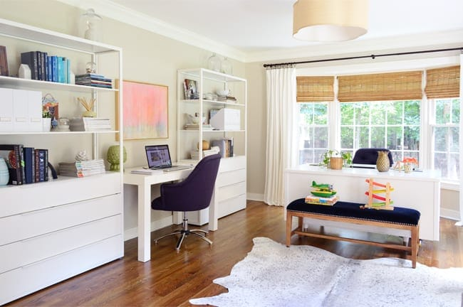 An extra room is turned into an office in Young House Love's home tour