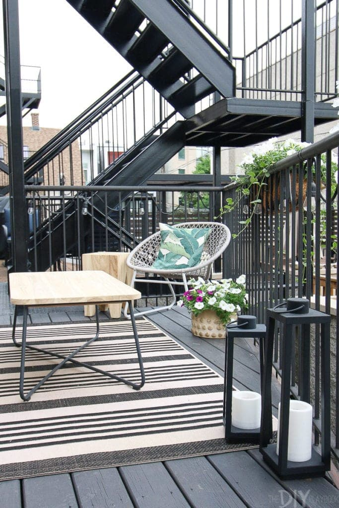 Teak outdoor furniture for a small city patio
