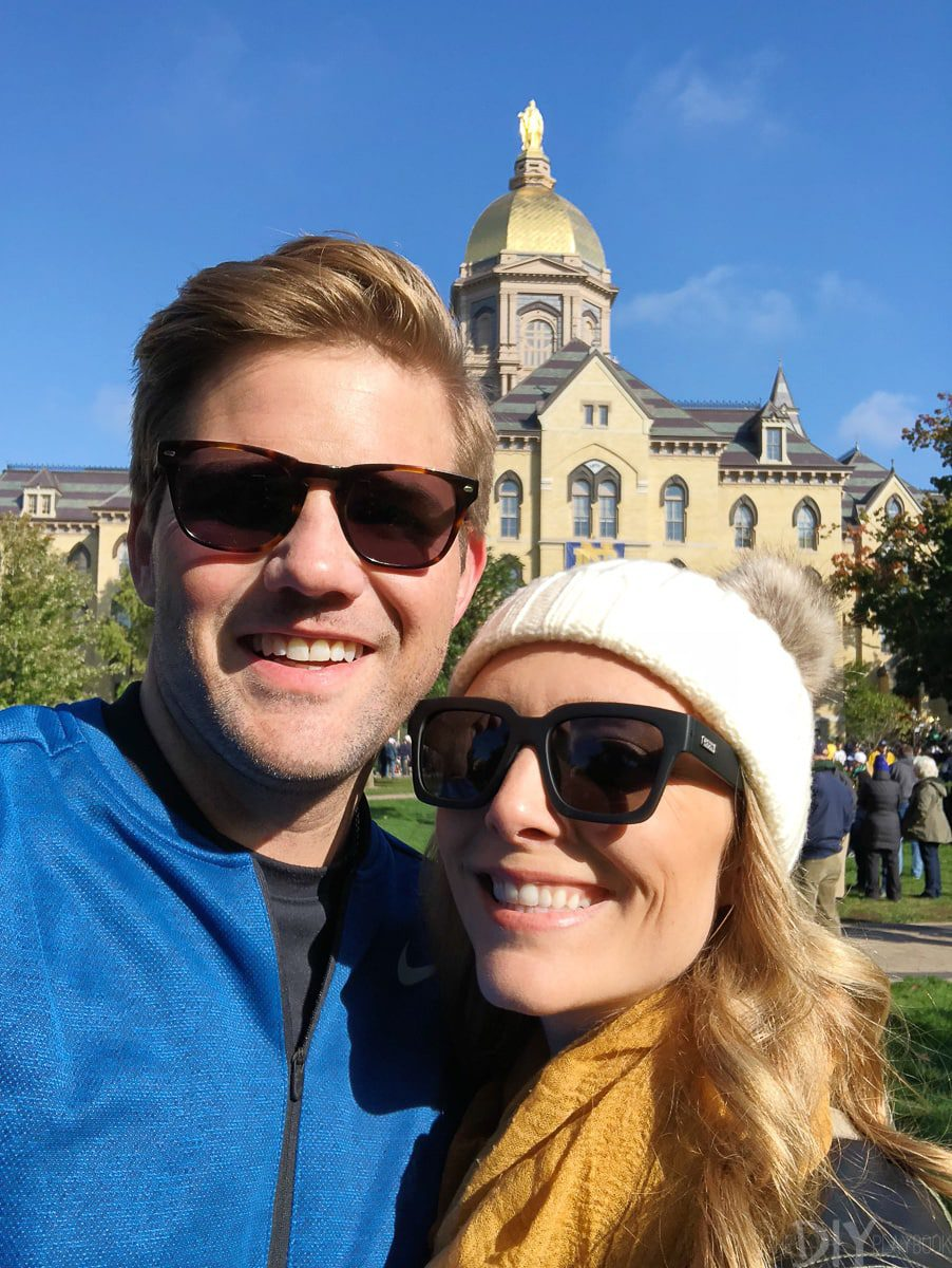 Casey and Finn at Notre Dame campus