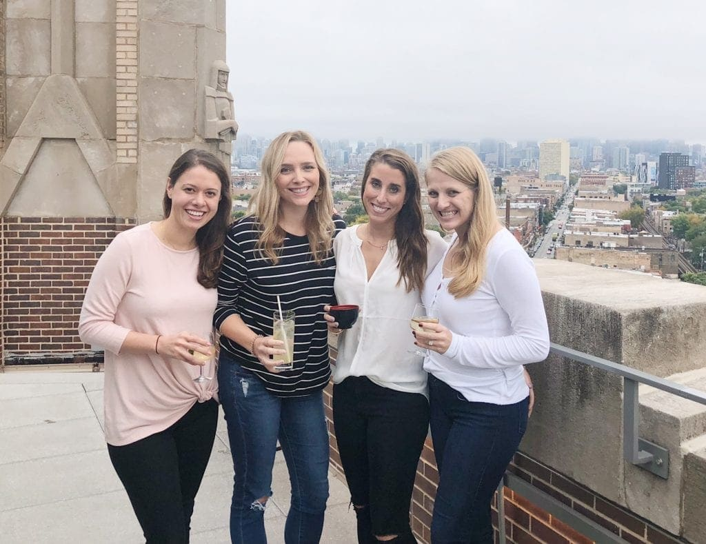 College friends on top of Robey
