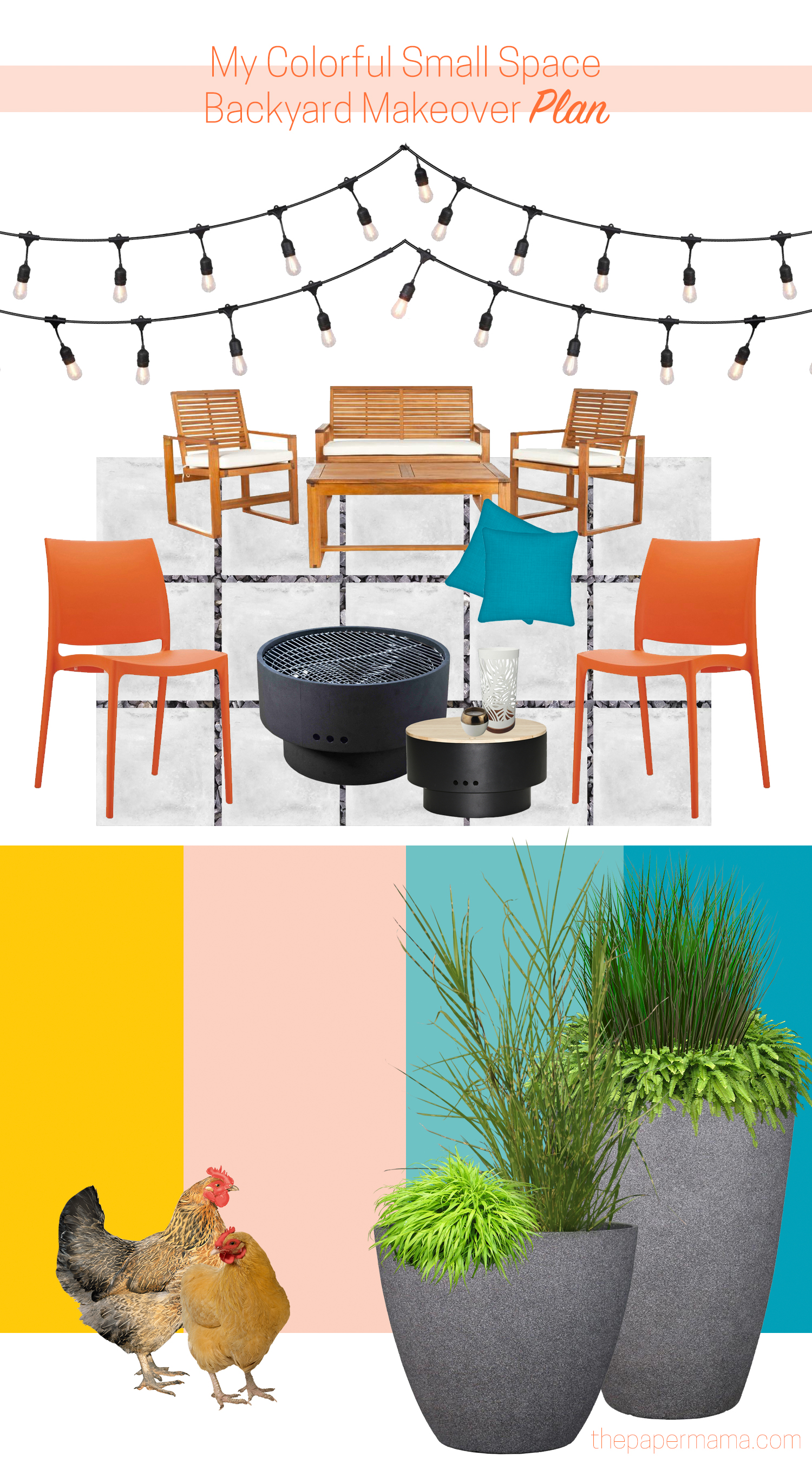 My Colorful Small Space Backyard Makeover Plan