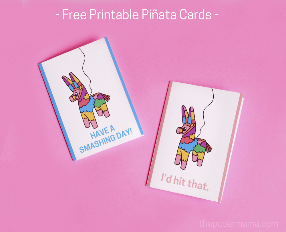 Free Printable Piñata Cards and Invitations - Perfect For Your Summer Parties!