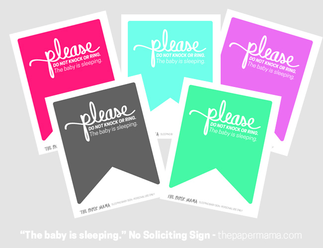 Baby Is Sleeping No Soliciting Sign - Free Printable to Download