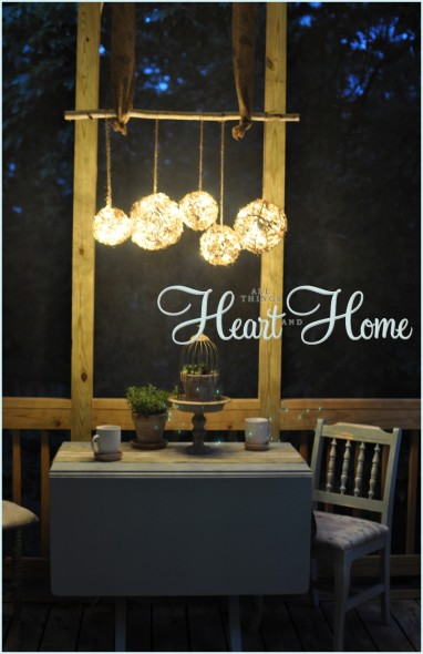 Easy DIY outdoor chandelier, on All Things Heart and Home.