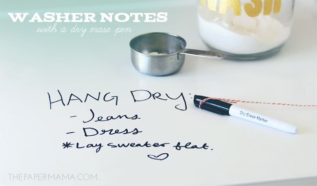 Washer Notes with a Dry Erase Pen // thepapermama.com