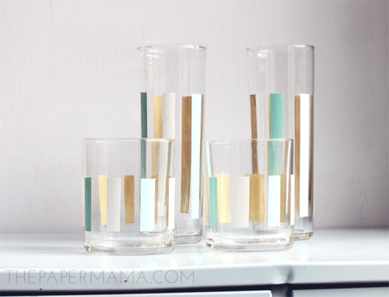 Striped Painted Glassware DIY