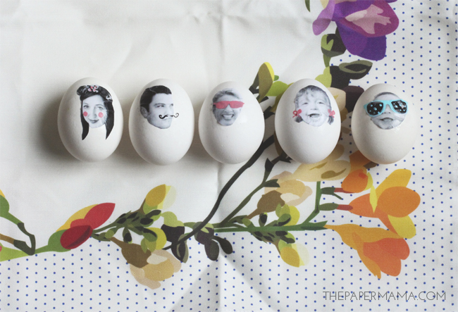 Silly Face Photo Easter Eggs // thepapermama.com