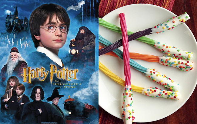 I LOVE Harry potter and I think these Harry Potter Licorice Wands while watching the movie (on Pastry Affair).