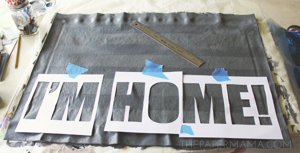 """No Sew """"I'm Home"""" Floor Mat DIY with pattern!"""