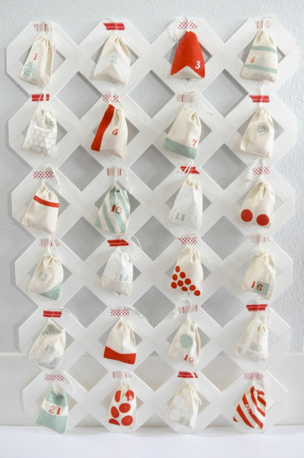 You need a lattice, some muslin bags, and a bit of paint to create this pretty thing, from The Proper Blog.