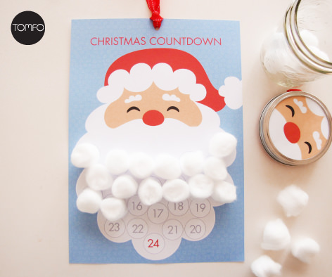 This free printable Santa beard countdown is so cute and I think the kids would love it, from Tomfo.