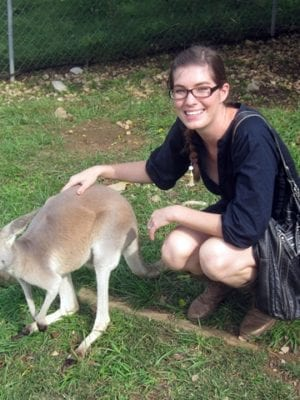 lindsay hugs all the animals no. 4 . kangaroo thumbnail