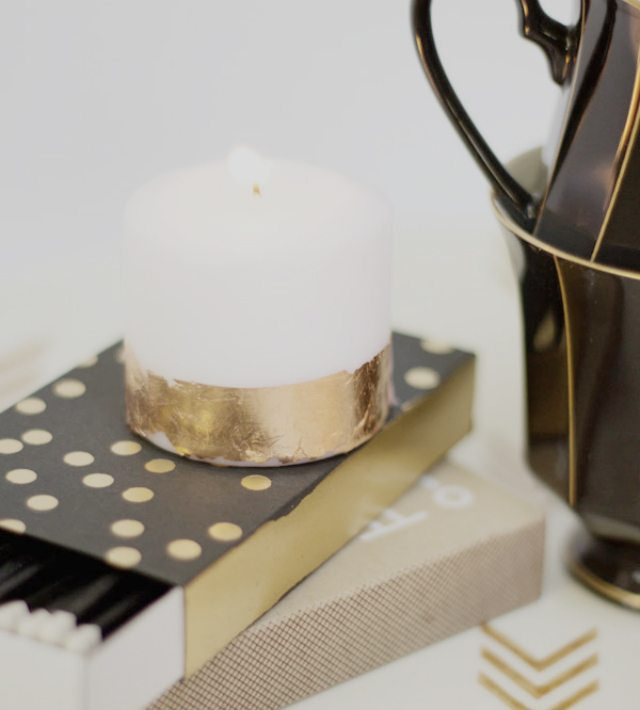 Lovely Indeed Copper Leaf Candles