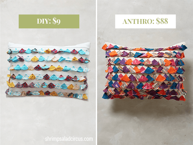DIY Anthropologie Tasseled Jacare Pillow Knockoff