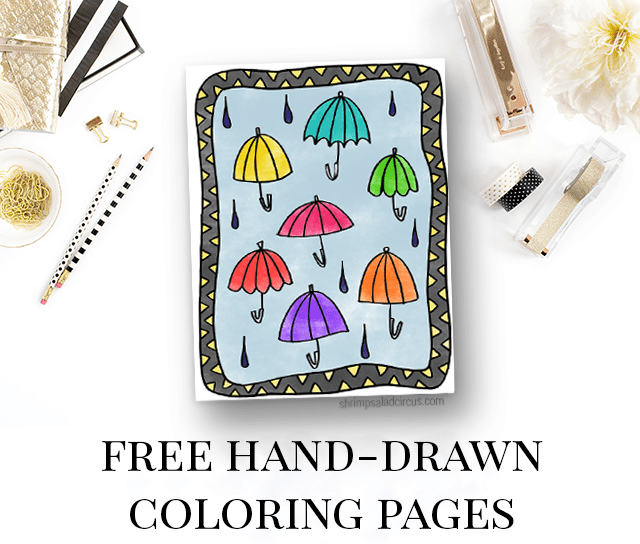 Free Adult Coloring Pages - Umbrellas
