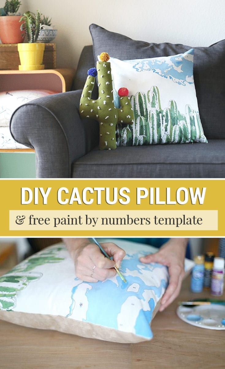 DIY Paint by Numbers Pillow Tutorial with a Cactus Scene