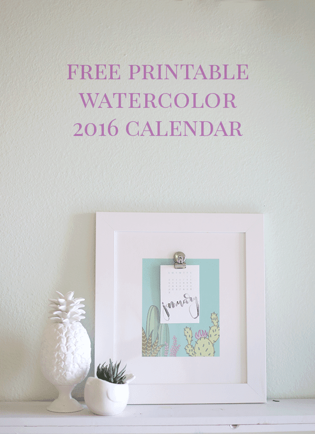 2016 Free Printable Calendar - Hand Lettered Watercolor