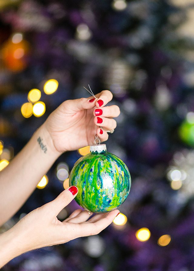 DIY Galaxy and Planet Christmas Ornaments - Blue Green and Silver Marbled