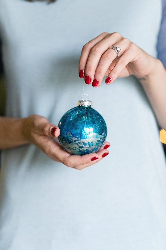 DIY Galaxy and Planet Christmas Ornaments - Blue and Silver Marbled
