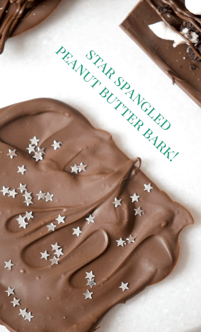 Peanut Butter Cup Chocolate Bark Recipe with Edible Silver Stars