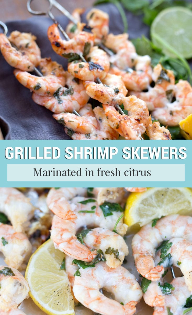 Marinated shrimp skewers for grilling pictured on kabobs before and after cooking