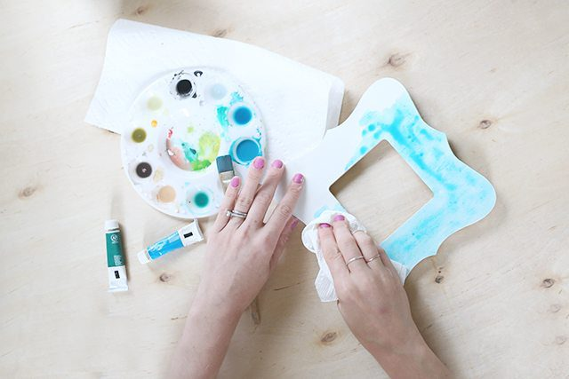 Watercolor Painted Wooden Picture Frame - Step 5 - Blotting the Watercolor