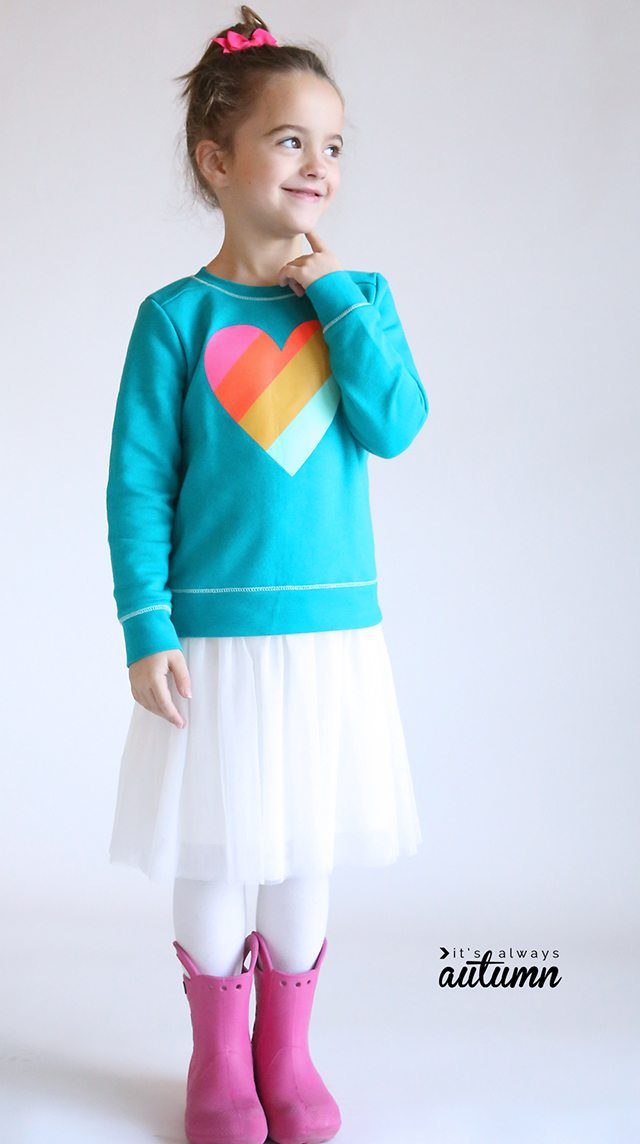Free Fall Sewing Patterns for Kids for Fall - Tulle Sweatshirt Dress for Girls