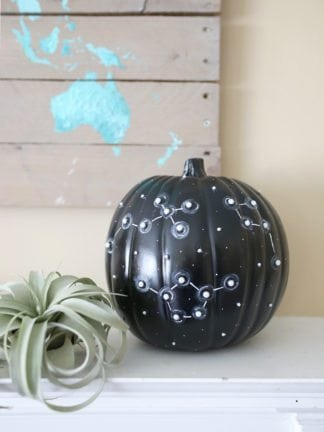 DIY No Carve Constellation Pumpkin for Halloween thumbnail