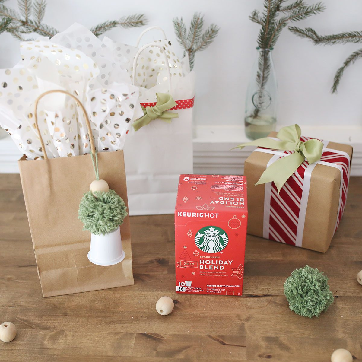 Starbucks Gift Wrap K-Cup Bow Tassel for Holiday Gifts