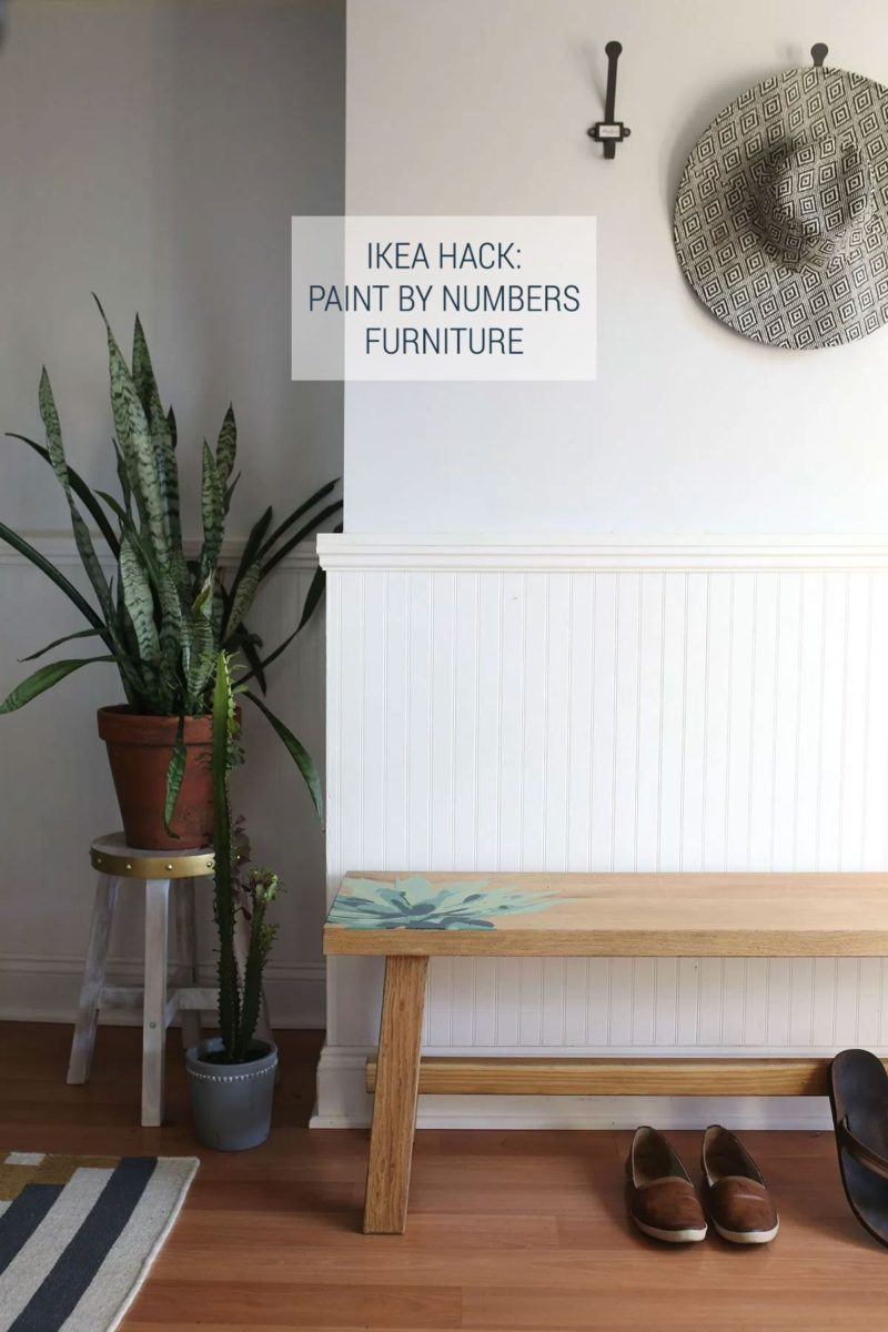 Paint by Number Furniture Tutorial With Free Printable Template - IKEA Hacks Mockelby Bench