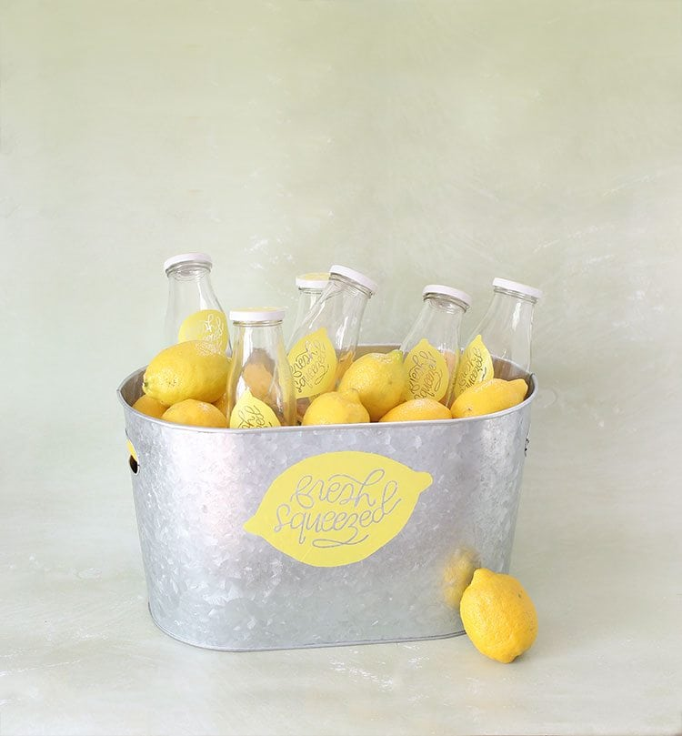 Galvanized Steel Tub of Drinking Bottles and Lemons on Green Background