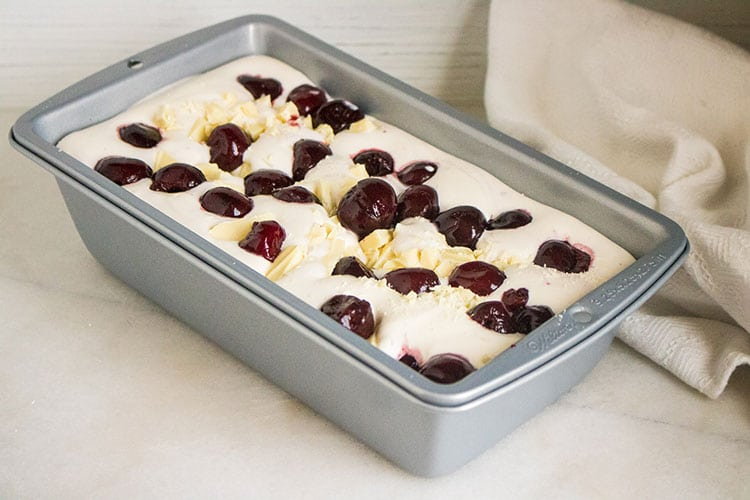 Black Cherry No Churn Ice Cream Recipe Frozen in a Loaf Pan