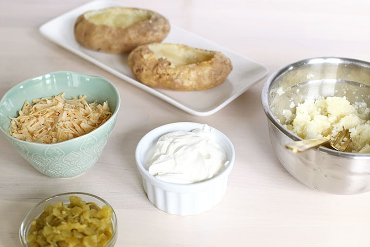 Ingredients for Cheesy Green Chile Twice Baked Potatoes Recipe