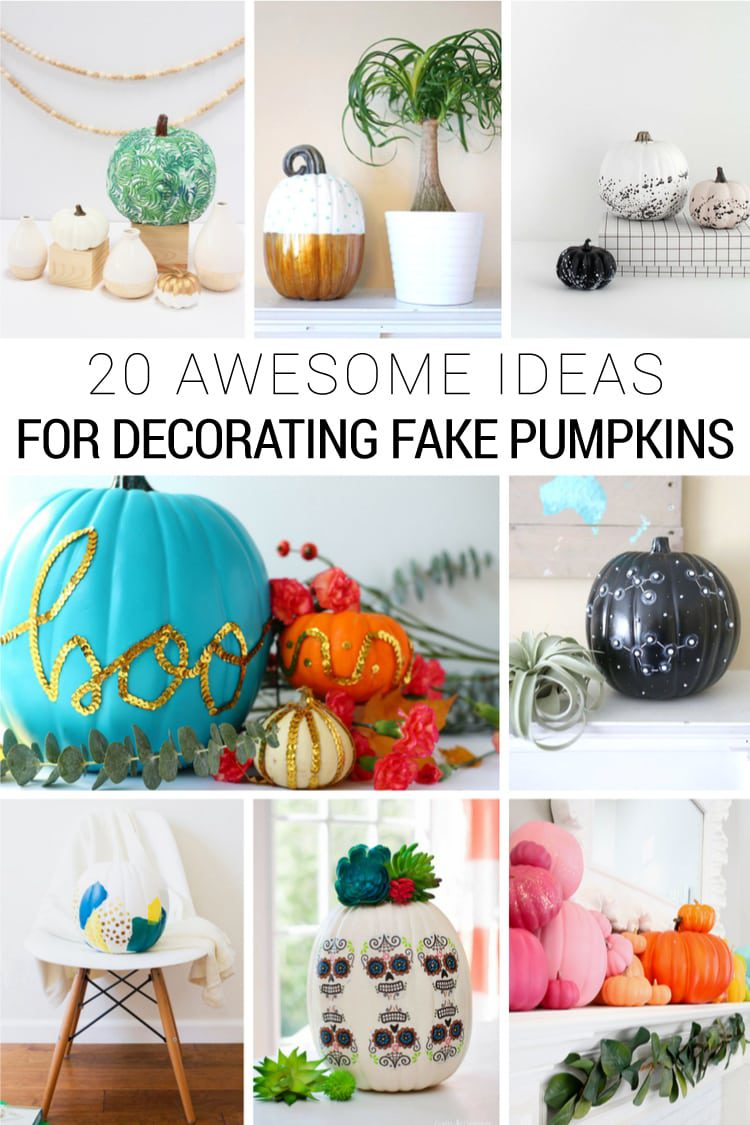 20 DIY Fake Pumpkin Decorating Ideas for Halloween and Fall