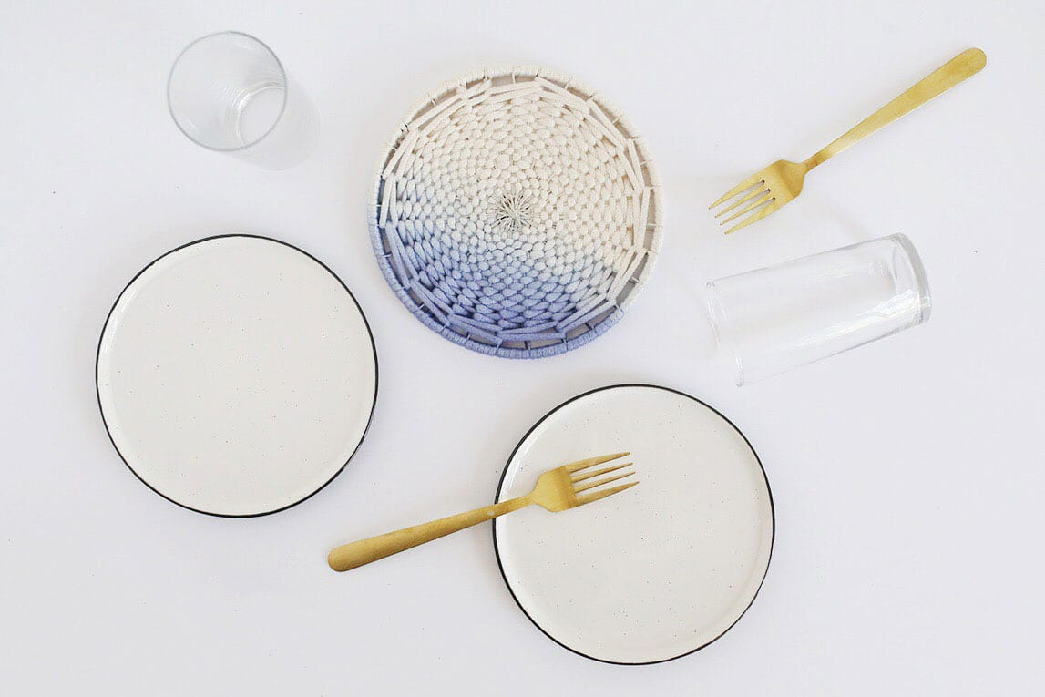DIY Ombre Dip Dyed Woven Trivet from Weaving Within Reach