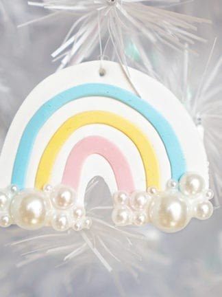 Polymer Clay DIY Rainbow Christmas Ornaments thumbnail