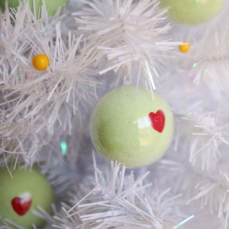 DIY Grinch Bath Bomb Ornaments for Christmas