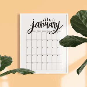 Hand Lettered Free Printable 2019 Monthly Calendar